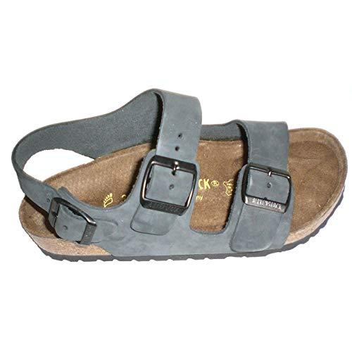 Birkenstock Milano Men's Slingback Sandal,45 Narrow Charcoal Nubuck 034333
