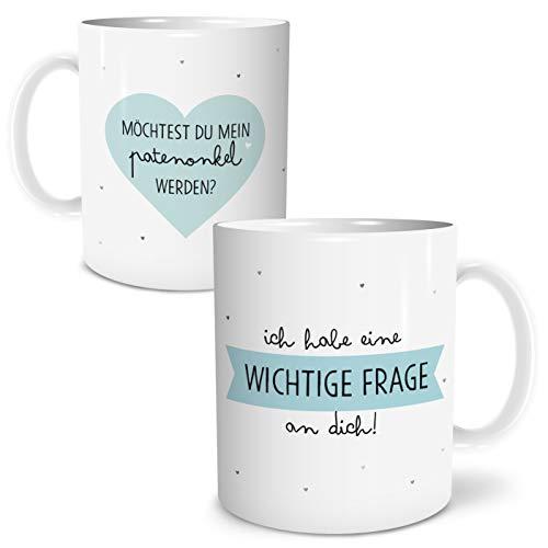 OWLBOOK Frage Patenonkel Große Kaffee-Tasse mit Spruch im Geschenkkarton Geschenke Geschenkidee für Patenonkel Geburtstag Ostern