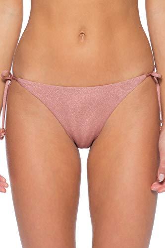 ISABELLA ROSE Women's Bondi Metallic Tie Side Hipster Bikini Bottom Rose Gold S
