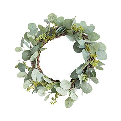 Eucalyptus Leaf Artificial Garland Front Door Wall Hanging for Interior Green Leaves Simulation Rattan Decoration
