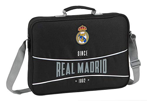safta 612024385 Bolso Maletín Cartera extraescolares niño Real Madrid CF, Negro