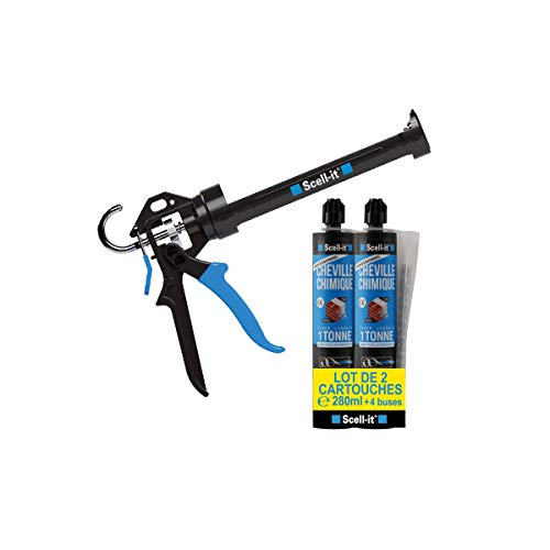 Pack Pistolet professionnel Scell it + 2 cartouches Scellement chimique polyester 280 ml Système PEEL PACK + 4 buses