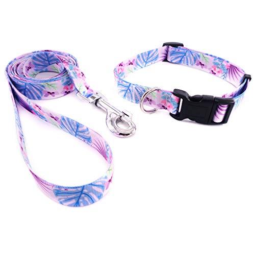 WOWAL PETS Juego de collar y correa ajustable para perros pequeños, medianos y grandes, para caminar al aire libre (Monstera deliciosa, S (cuello: 10.2-15.7 pulgadas))