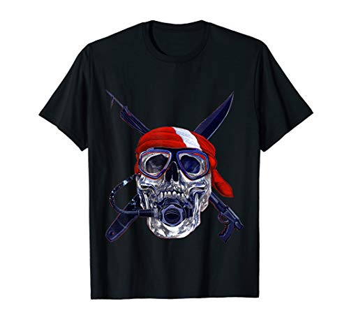 Scuba Diving Gifts Skull Speargun Spearfishing Dive Flag T-Shirt