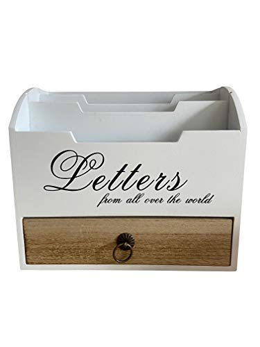Briefablage/Briefständer/Briefhalter aus Holz mit Schublade und 3 Fächer B20 x T10 x H17 cm mit Schrift Letters weiß/braun