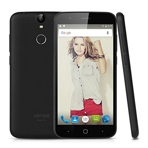 "Vernee thor - Smartphone libre 4G LTE (Pantalla 5.0"", Android 6.0, 16GB ROM, 3GB RAM, Octa-Core 1.3GHz, Cámara 13.0 Mp, Sensor de huellas dactilares, Carga rápida), Negro"