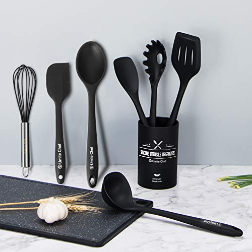 Kitchen Utensil Set-12 Pieces Cooking Utensils-Silicone Kitchen Utensils -Umite Chef Nonstick Cookware with Spatula Set - Colored Best Kitchen Tools Kitchen Gadgets with Utensil Crock(Black)