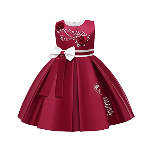 IEFIEL Vestido Elegante de Fiesta para Niña Vestido Princesa Corto de Dama de Honor de Boda Vestido Cóctel Sin Manga de Cumpleaños Gala Z Vino 5-7 años