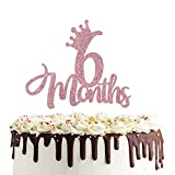 6 Months 1/2 birthday Cake Topper Double Sided Rose...