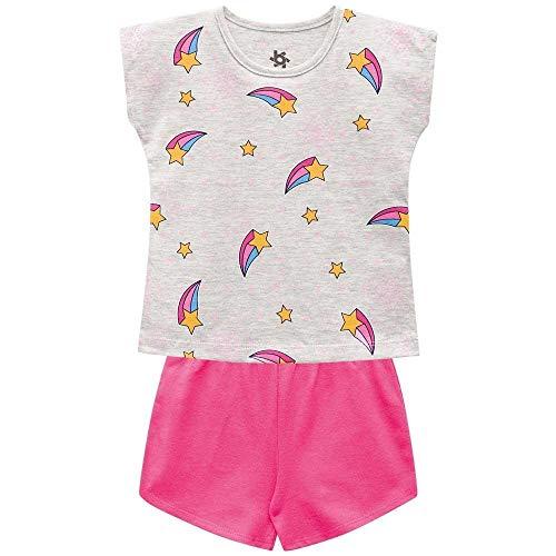 Pijama Infantil Menina Blusa E Short Meia Malha Brilha No Escuro Brandili
