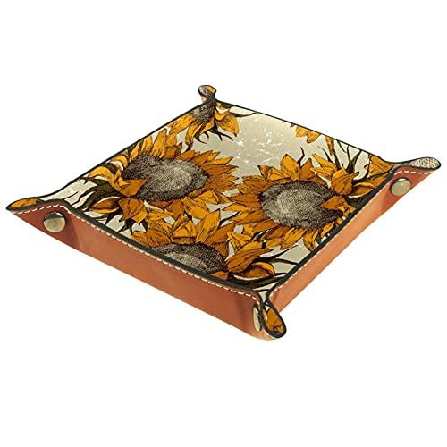 AITAI Bandeja de valet de cuero vegano, organizador de mesita de noche, placa de almacenamiento para escritorio, diseño de girasol retro