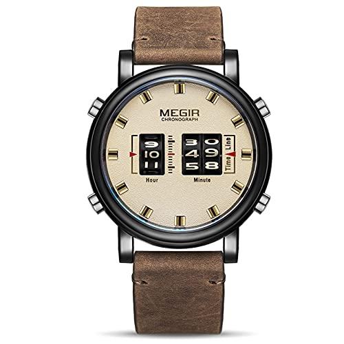 Nuevos relojes para hombre de moda con correa de cuero Top marca de lujo deportes reloj de cuarzo, blanco,