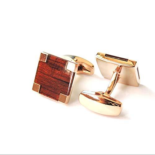 WYLCDGEOO Red Square Qualität Holz in Rotgold Manschettenknöpfe High-End Herrenbekleidung Accessoires Manschettenknöpfe