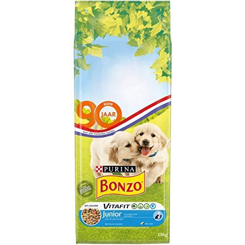 Bonzo Junior hondenbrokken met Kip, Toegevoegde Melk en Groenten - hondenvoer voor puppys v.a. 6 weken 15kg, 1 pak
