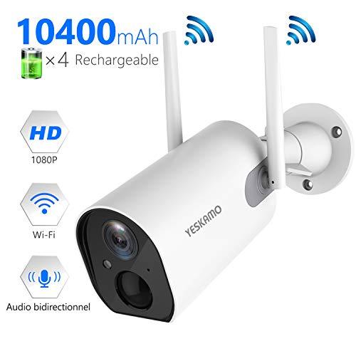 puissant Caméra YES KAMOC CTV alimentée par batterie Zone extérieure / intérieure 10400mAh Sans fil HD 1080PIP…