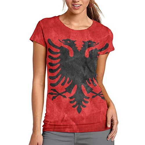 Aquarell-albanische Flagge, Damen-T-Shirt, kurzärmelig, Tunika, Tops, Rundhalsausschnitt, Bluse