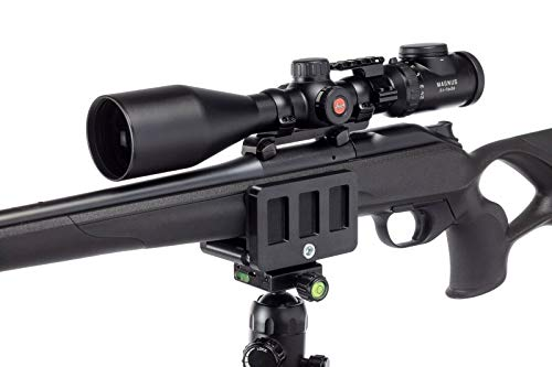 Rifle Saddle Mount Rifle clamp Tripod Mount Adapter Precise Tripod Shooting Rest (Black)