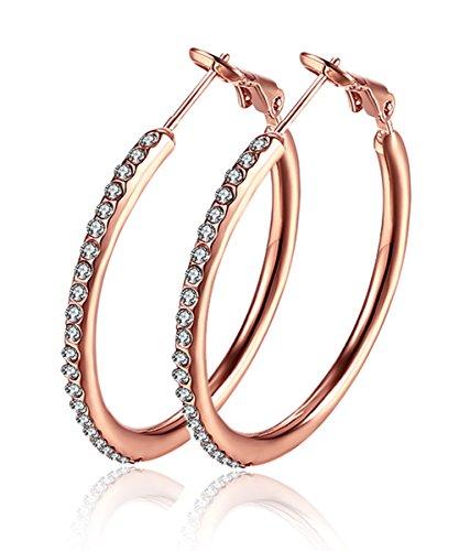 Ohrringe Creolen Damen Zirkonia Frauen Schmuck mit Vergoldet Rosé Hochzeit Geschenk - Damen-Ohrringe für jeden Anlass 35mm