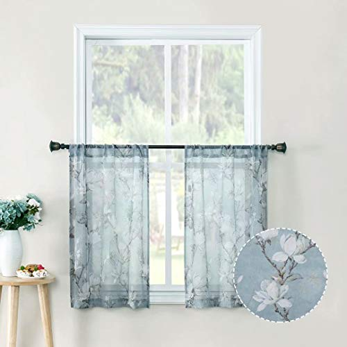 Tollpiz Floral Short Blue Sheer Tier Curtains Flower Print Vine Embroidery Kitchen Half Curtain Rod Pocket Café Voile Window Curtains for Bathroom, 30 x 24 inches Long, Set of 2 Panels