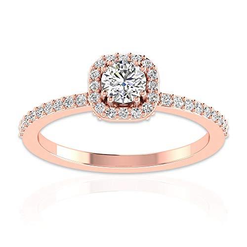 Anillo de halo de moissanita certificado IDCL de 0,58 ct, declaración nupcial de boda, anillo de oro, DEF-VS1 claridad de color, anillo de promesa de piedras preciosas, 14K Oro rosa, Size:EU 69