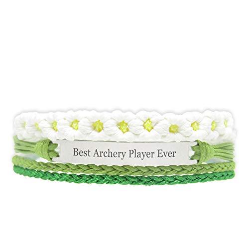 Miiras Handgemachtes Armband für Frauen - Best Archery Player Ever - Grün - Aus Geflochtenes Seil und Rostfreier Stahl - Geschenk für Bogenschießen Spieler