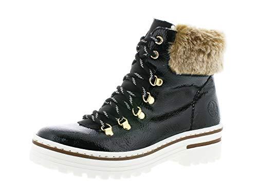 Rieker Damen Stiefeletten, Frauen Schnürstiefelette, leger Winter-Boot halb-Stiefel schnür-Bootie weiblich,Black,38 EU / 5 UK