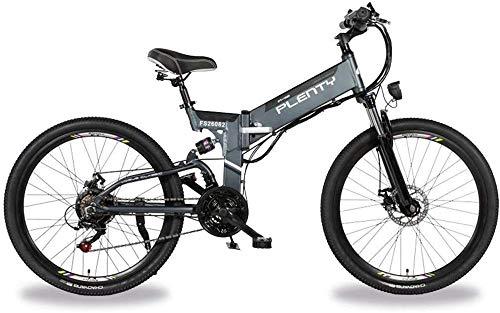 RDJM Bici electrica, Adulto eléctrica Plegable de Aluminio de 26 Pulgadas Bicicletas Frenos batería de Litio de 48V 350W Ebike 10AH Doble Disco Tres Formas de conducción con luz LED de Bicicletas
