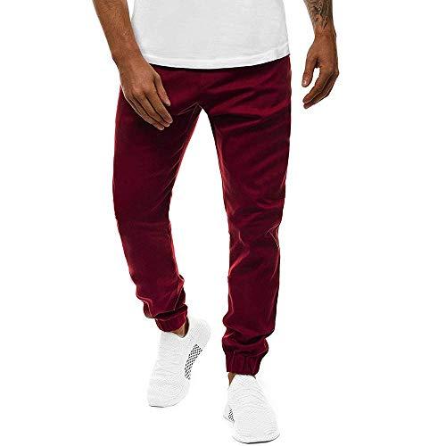 Bienwwow Men's Solid Color Pants Sweatpants Casual Elasticated Waist Slim Fit Trousers (Red,4XL)