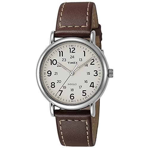 Timex Men's TW2R42400 Weekender 40mm Brown/Cream Two-Piece Leather Strap Watch