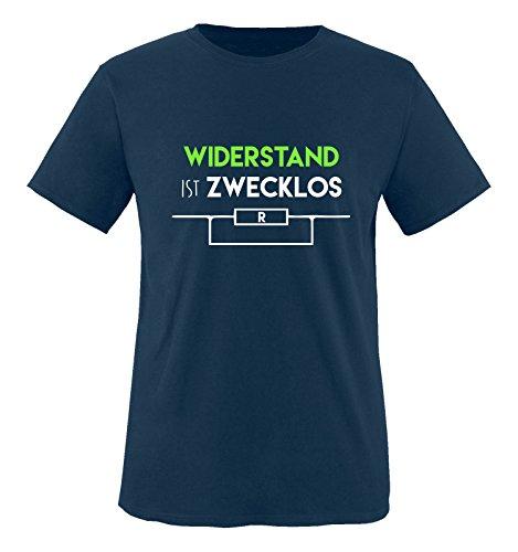 Comedy Shirts - Widerstand ist zwecklos - Herren T-Shirt - Navy/Weiss-Neongrün Gr. L