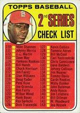 1969 Topps Regular (Baseball) card#107a Checklist 110-218 161 jim purdin/Gibson of the - Undefined - Grade Excellent
