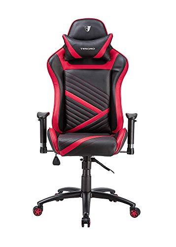Preisvergleich Produktbild Tesoro Zone Speed F700 Gaming Stuhl Rot / Red Wippfunktion und verstellbare Armlehnen Chefsessel Schreibtischstuhl Gamingstuhl mit PU Kunstleder und Lordosenstütze Lendenkissen