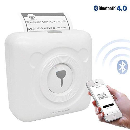 EJOYDUTY Mini Pocket Wireless BT Thermoprinter, fotoetiketten, memo, kwitantiepapier, met USB-kabel, ondersteuning voor Android iOS smartphone