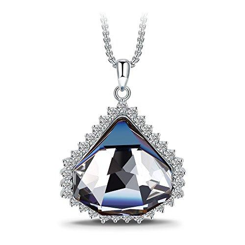 T400 Jewelers Collana con Pendente a Triangolo Realizzata con Cristalli Swarovski Blue Regalo per Le Donne