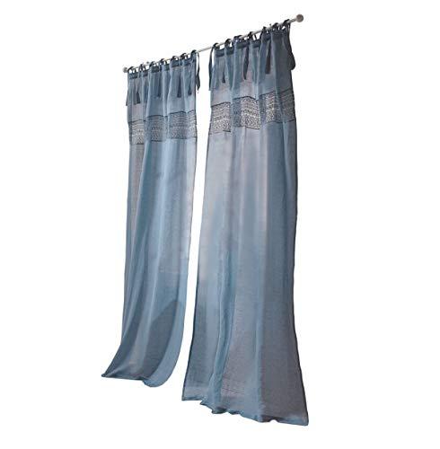 Unbekannter Hersteller Leinenvorhang - Vorhang mit Spitzen-Bordüre - Leinen Baumwolle - ca. 250 x 140 cm