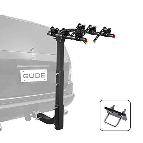 GUDE 3 Bike Rack for Car Hitch Mount 2'' Heavy Duty Bicycle Carrier Rack Hitch Swing Rack Hanging with Anti Sway Double Folding for Cars, SUV's, Vans, Minivans