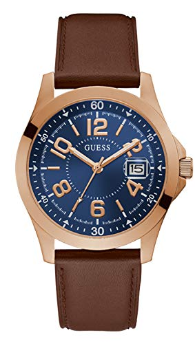 GUESS Men's Stainless Steel Quartz Watch with Leather Strap, Brown, 22 (Model: GW0251G3)