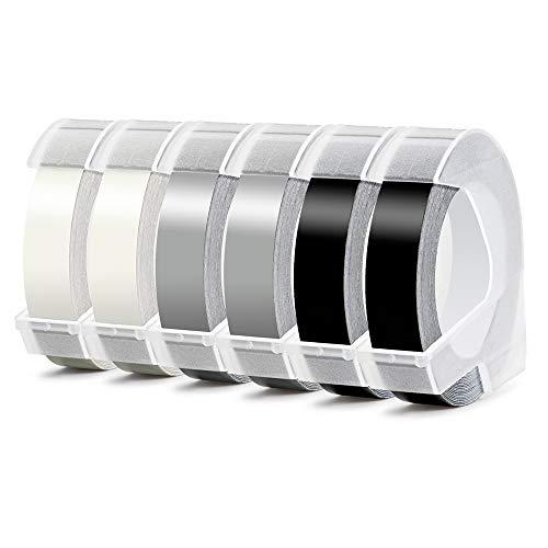 3D Nastro Etichette a Rilievo Aken compatibile in sostituzione di Dymo Embossing Tape S0847750, Bianco su Nero, Argento, Trasparente, Dymo per Junior Omega Etichettatrici a rilievo, 9 mm x 3 m