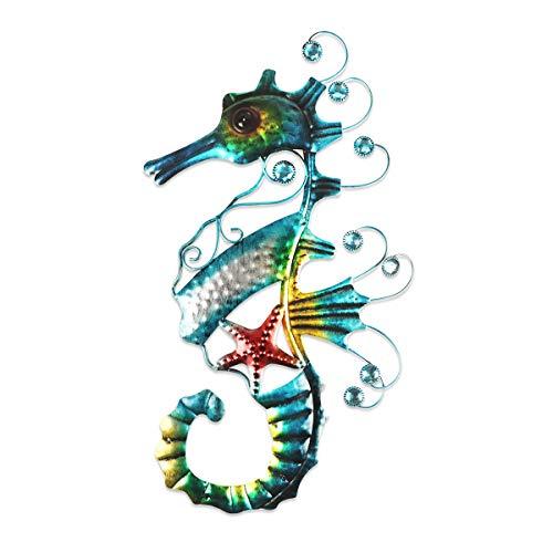 YiYa Decorazione da parete in metallo con cavalluccio marino Arte della parete di cavalluccio marino, per giardino Soggiorno Camera da letto Decorazioni a tema spiaggia Decorazioni feste in spiaggia