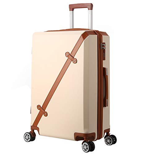 Adlereyire Trolley Suitcase Lightweight Durable Carry On Cabin Hand Luggage Set, Travel Bag with 4 Wheels (Color : Beige, Size : 38 * 24 * 59cm)