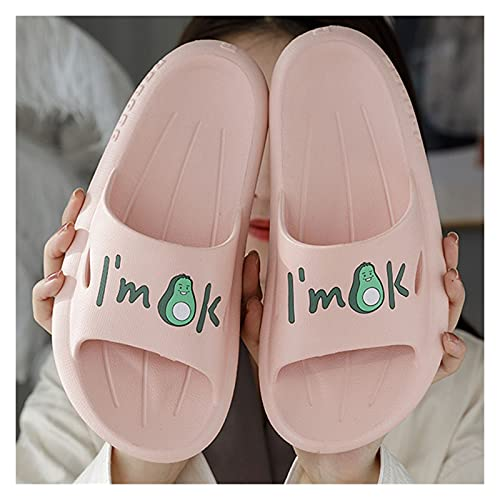 KHFSD Zapatillas Lindas Zapatillas para el hogar, Zapatillas de baño de Verano Unisex, Fondo Suave y Grueso, cómodo para Usar, silencioso y Antideslizante, Zapatillas de Masaje de Arco