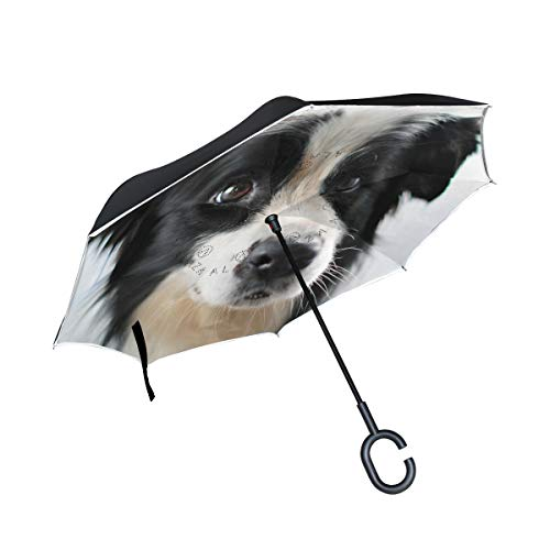 TIKISMILE Dog Reverse Umbrella Inverted Umbrella Windproof Umbrellas UV Protection for Car Rain Outdoor with C-Shaped Handle