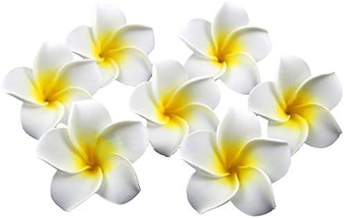 Goege 100 Pcs Diameter 2 4 Inch Artificial Plumeria Rubra Hawaiian Flower Petals For Wedding product image