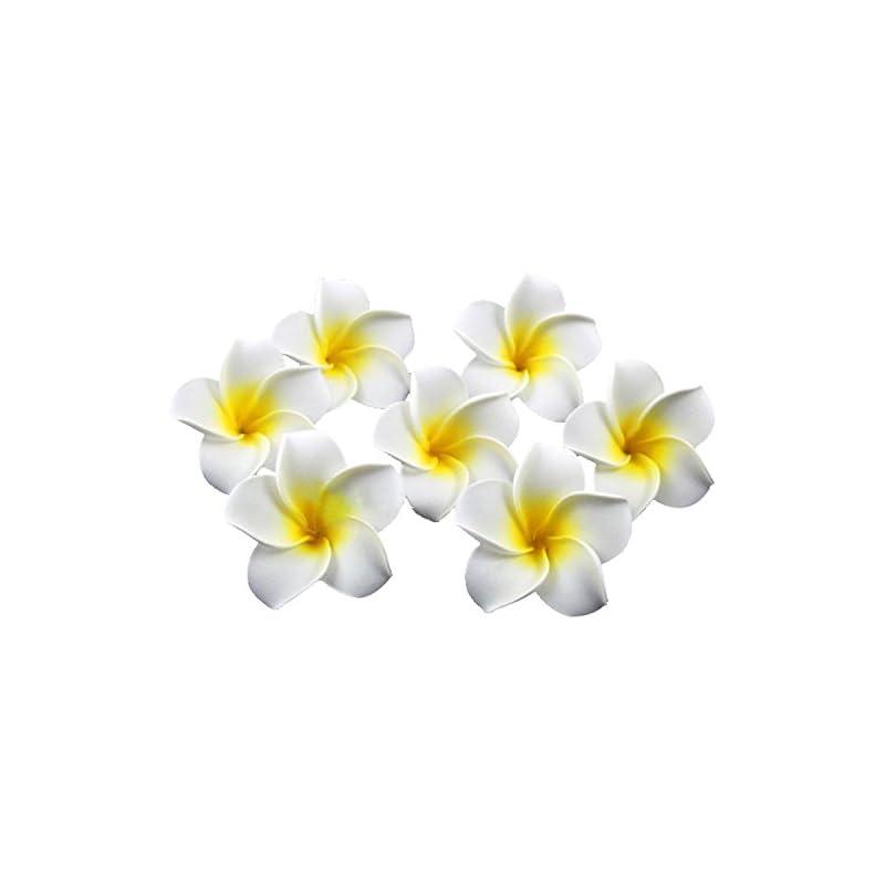 silk flower arrangements ewanda store 100 pcs diameter 3.2 inch artificial plumeria rubra hawaiian foam frangipani flower petals for weddings party decoration(beige)