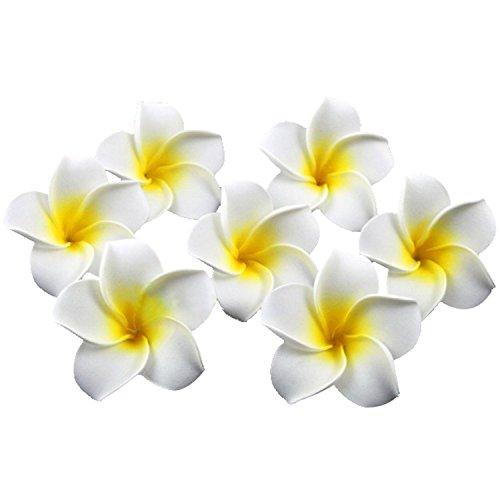 Ewanda store 100 Pcs Diameter 1.6 Inch Artificial Plumeria Rubra Hawaiian Foam Frangipani Flower Petals for Weddings Party Decoration(Ivory)