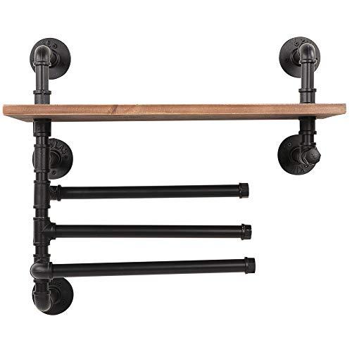 Gotop - Soporte de pared con 3 barras de toalla, almacenamiento de pared de madera rústica para estantería de pared, salón, dormitorio, cuarto de baño, cocina, oficina, 61 x 25 x 56 cm