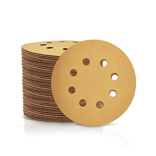 SPEEDWOX Schleifscheiben mit 8 Löchern, 100 Stück, 500-Körnung, Ø 125 mm, staubfrei, Klett-Schleifpapier für zufällige Exzenterschleifer, gelbe Abschlussscheiben für Autos, Holzbearbeitung, gelb
