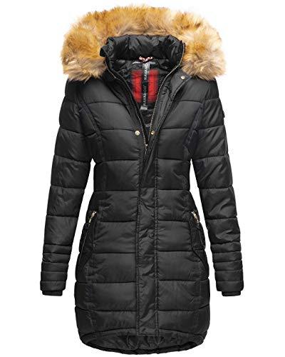 Navahoo Papaya Damen Winter Jacke Steppjacke Mantel Parka gesteppt warm B374 [B374-Papaya-Schwarz-Gr.M]