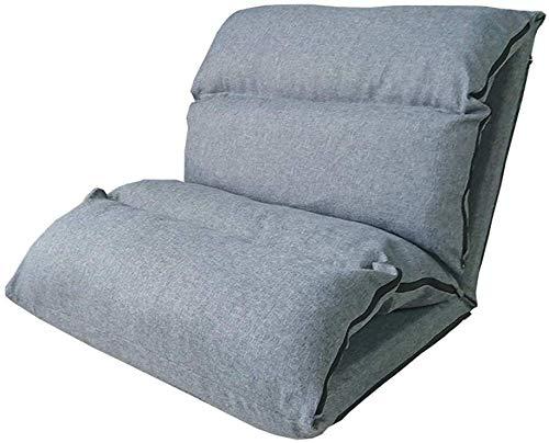 Relaxbx Klappbarer Lazy Sofa Chair 6-Fach verstellbar Erweitertes Klappen Leicht zu entfernen und zu waschen Bequemes Sitzen Atmungsaktive Feuchtigkeit Freizeitrücken Stoffbett (Farbe: GRAU)