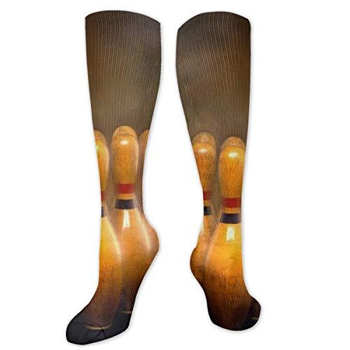 Myhou Damen Mädchen Bowling-Socken, Overknee-Strümpfe